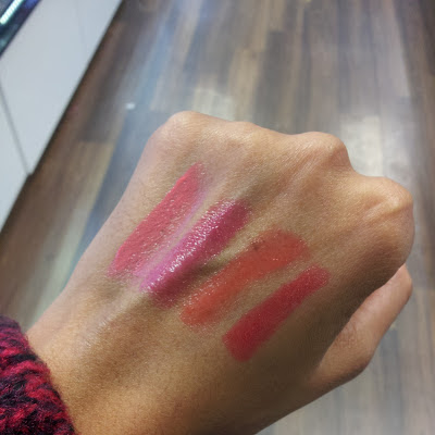 bourjois colour boost lip crayon Peach on the beach, Fuschia, Orange Punch & Red Sunrise swatches.