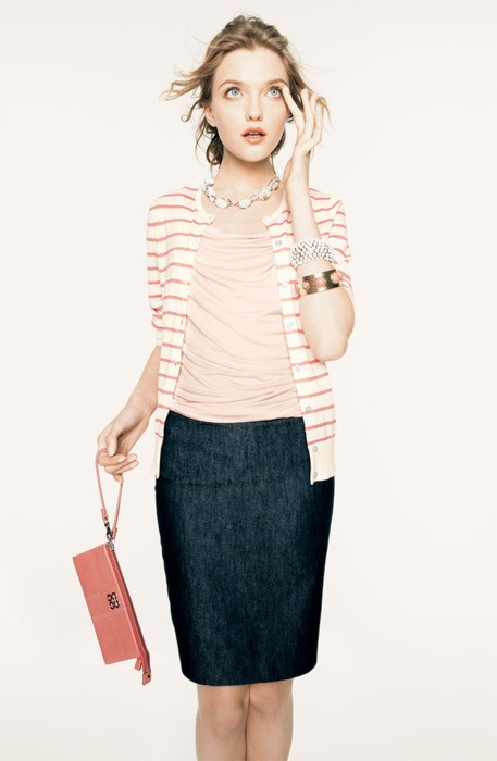 And A Pair Of Pink Heels Its Great Outfit For The Cold Also I Love That Denim Pencil Skirt You Cant Even Call It Jean So Classy