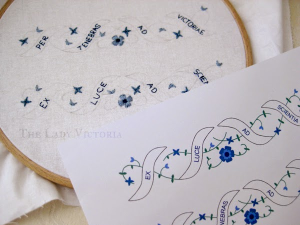 Garter construction embroidery