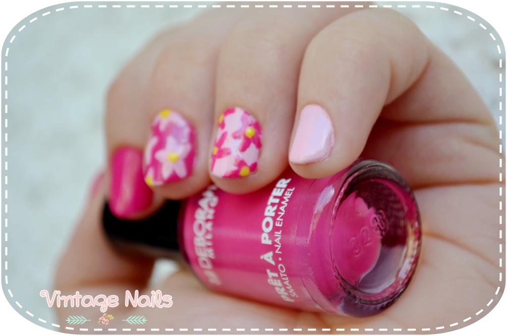 nail art, manicura, manicure, H&M, Deborah Milano, flower nails, vintage nails