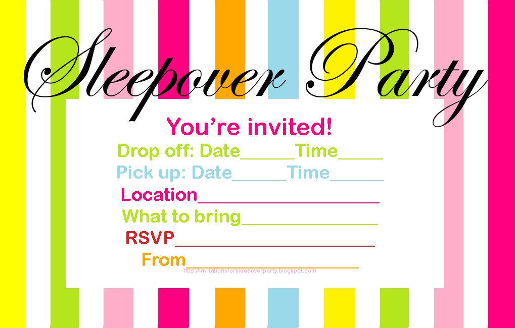 Fan image with free printable sleepover invitations