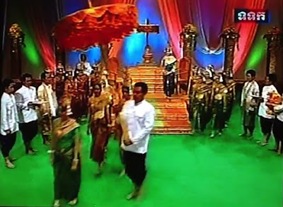 Khmer New Year play on Cambodian television, last year's goddess exits