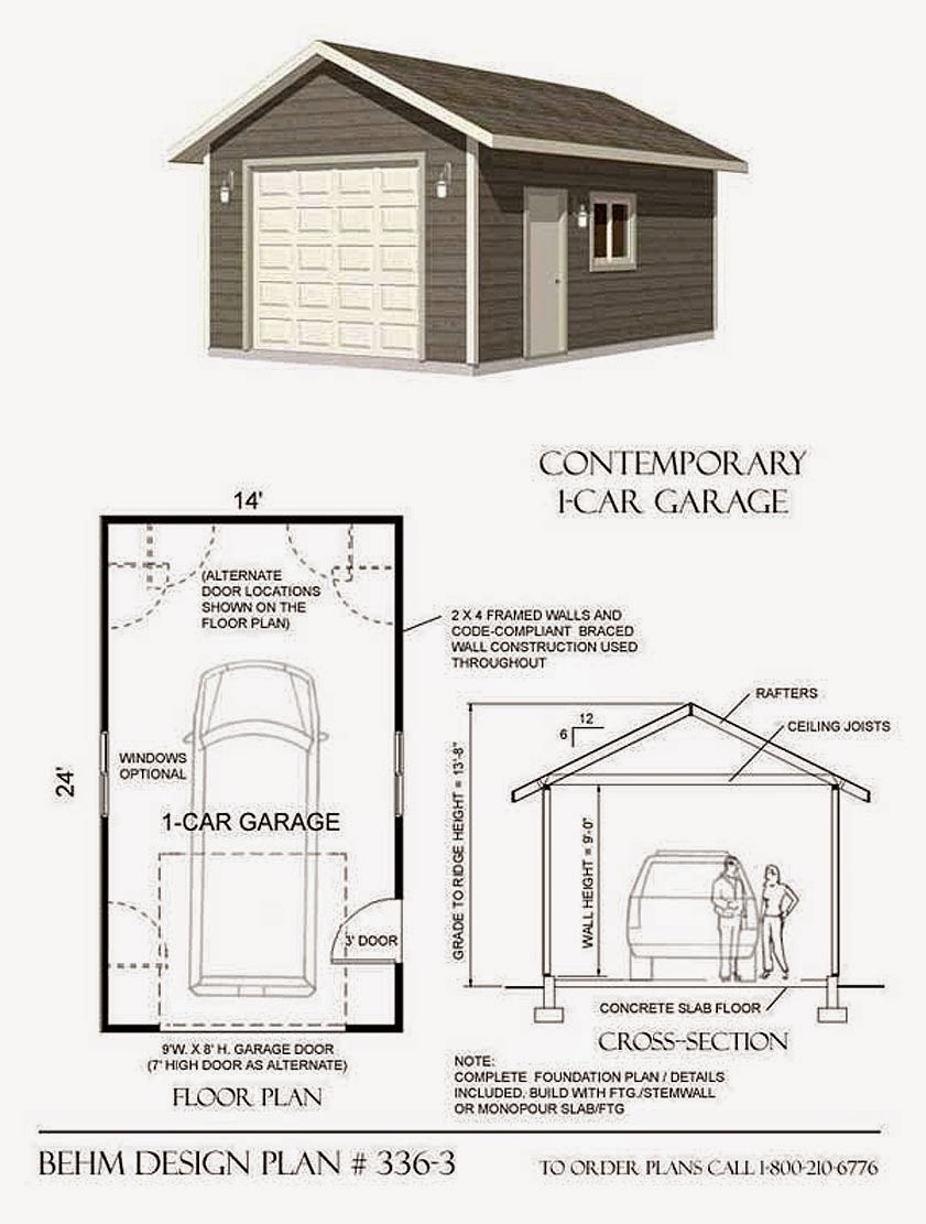 Garage plans blog behm design garage plan examples for Single car garage plans