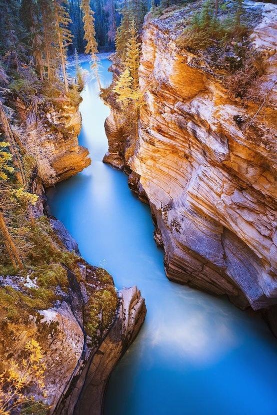 Athabasca Falls At Dusk, Jasper, Alberta, Canada