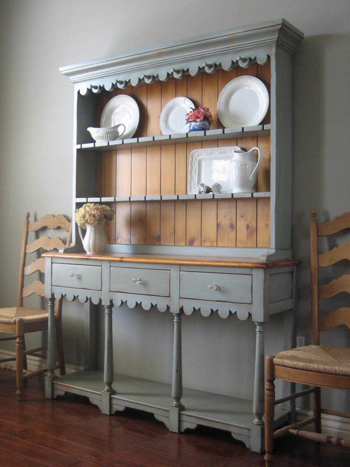 European paint finishes farmhouse hutch for Painted dining room hutch ideas