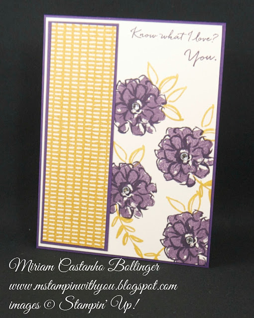 Miriam Castanho-Bollinger, #mstampinwithyou, stampin up, demonstrator, anniversary card, bohemian dsp, pp, what I love stamp set, su