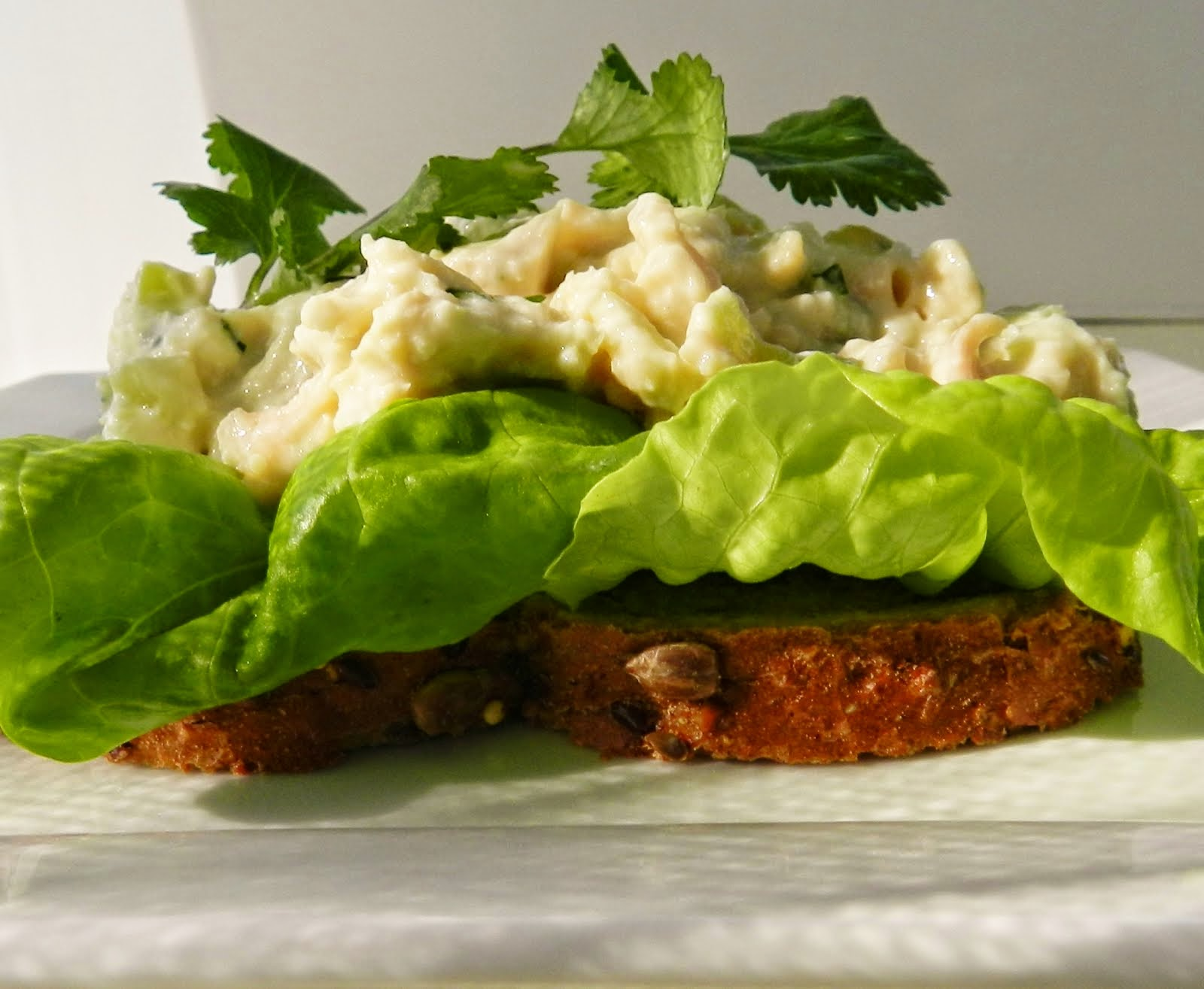 open-face chicken salad sandwich
