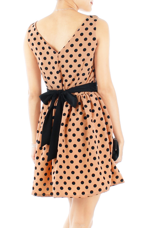Mustard Charming Polka Dot Dress with Black Ribbon Back