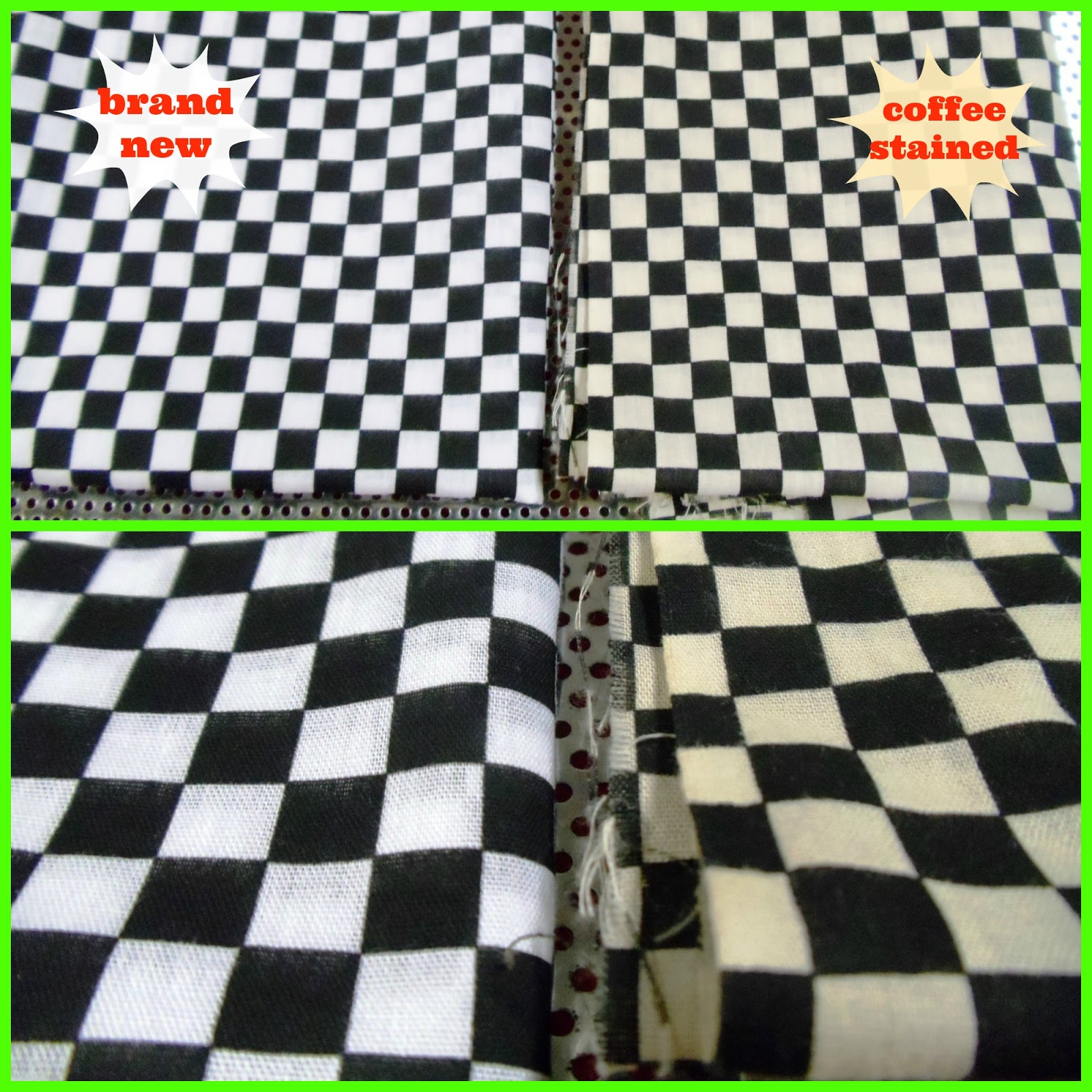 Aged pillows coffee staining checkered flag checkered flag pillows