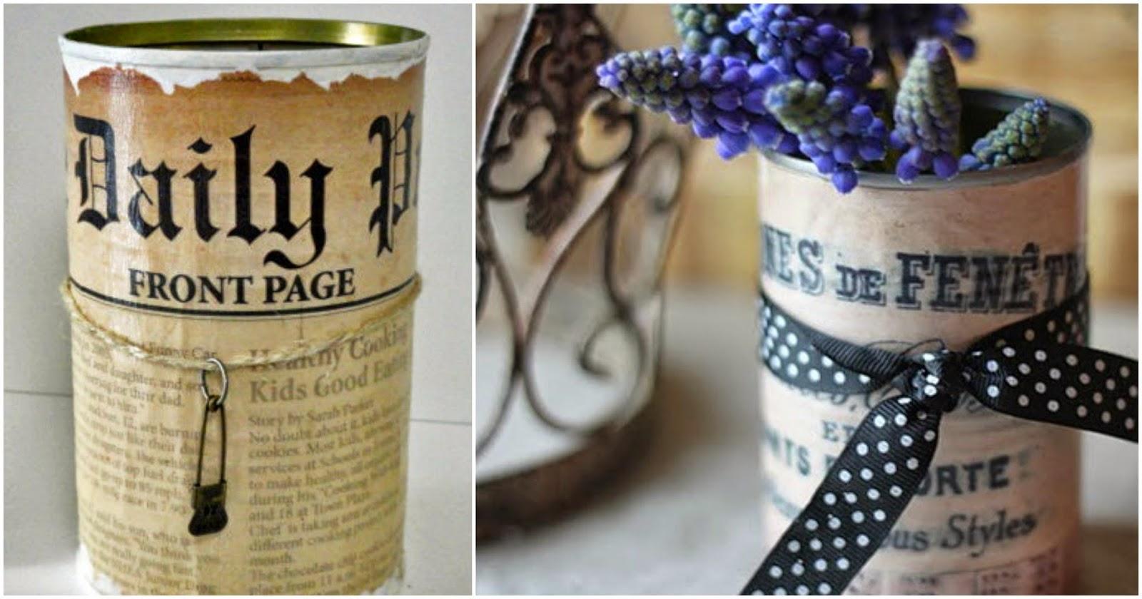 decoupage pojemniki piórniki z puszek -zrób to sam! Puszki decoupage w stylu vintage.