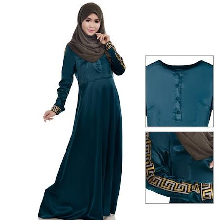 Haniya Satin Long Dress With Elegant Embroidery Sleeve Terbaru Di Pasaran Sangat MEnawan