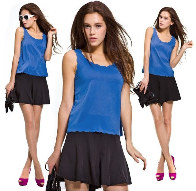 A beautiful sky blue t-shirt with cotton mini skirt and dark pink shoes
