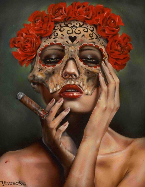 Brian Viveros pinturas mulheres badass violentas fumantes guerra surreal hiper realista
