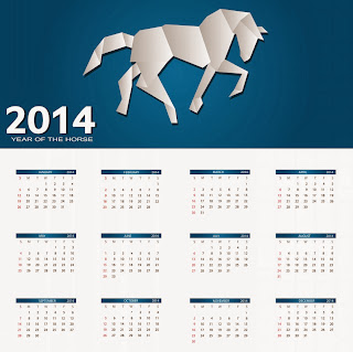 impressive paper craft design of horse calendar 2014 free printable
