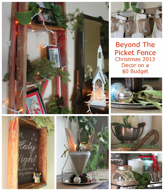 Christmas decor on $0 Budget http://bec4-beyondthepicketfence.blogspot.com/2013/12/christmas-home-2013-beyond-picket-fence.html