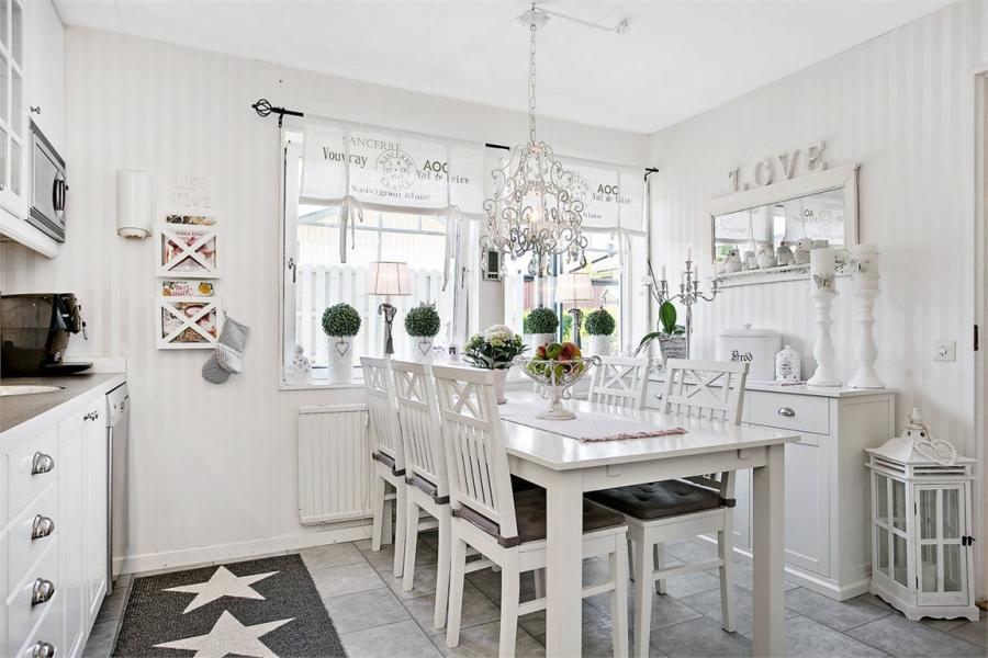 wystrój wnętrz, wnętrza, urządzanie mieszkania, dom, home decor, dekoracje, aranżacje, styl skandynawski, shabby chic, białe wnętrza, jasne wnętrza, kuchnia, jadalnia, stół, gwiazdki