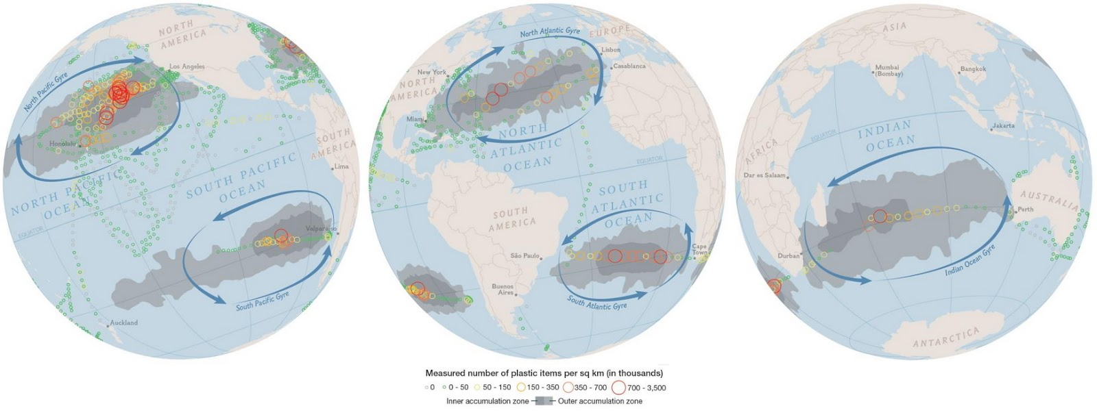 Concentration of Plastic in the Ocean