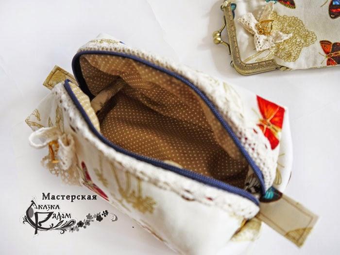косметичка из ткани, хранение мелочей, пенал, футляр