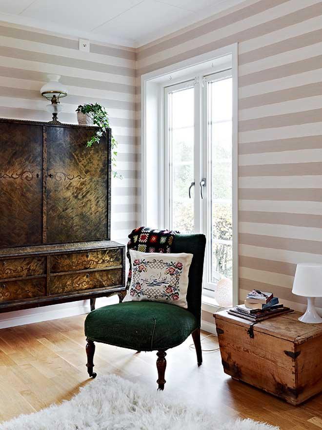 casa de campo diseño interior rustico actual -salón vintage baul