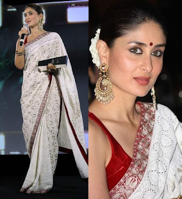 Kareena Kapoor in Pure Georgette Chikankari Saree