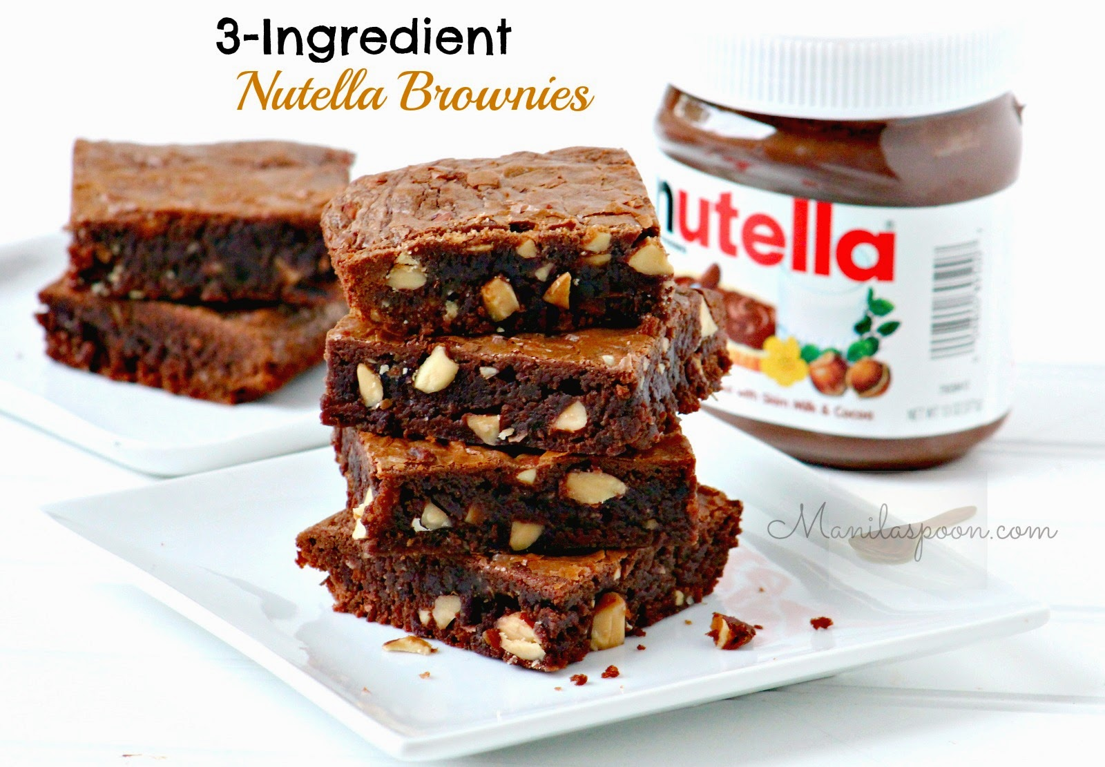 yummy - everything I love in a brownie - 3-INGREDIENT NUTELLA BROWNIES ...