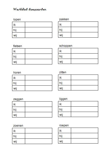 Juf lenny doewoorden in groep 4 for Werkbladen spelling groep 4