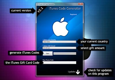 itunes gift code generator 2013