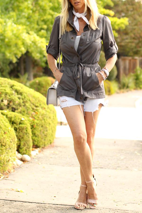 belted jacket cutoff shorts heels parlor girl