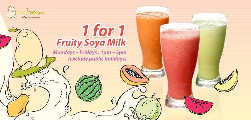 Foodiefc Mr Bean Singapore 1 For 1 Fruity Soya Milk On Weekdays