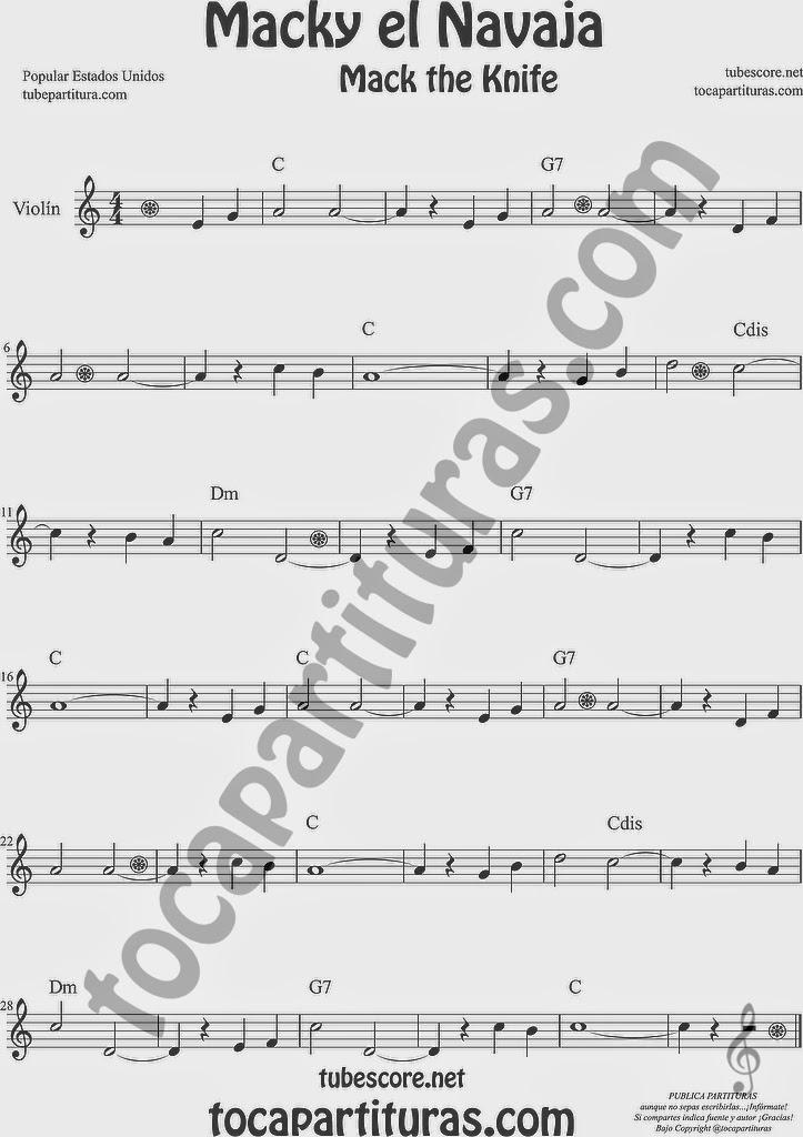 Macky el Navaja Partitura de Violín Sheet Music for Violin Music Scores Music Scores Mack the Knife USA de Kurt Weill