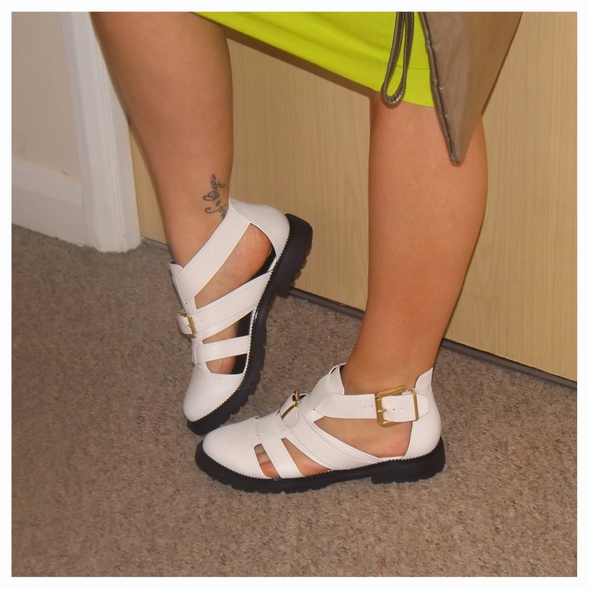 River Island white buckle sandals
