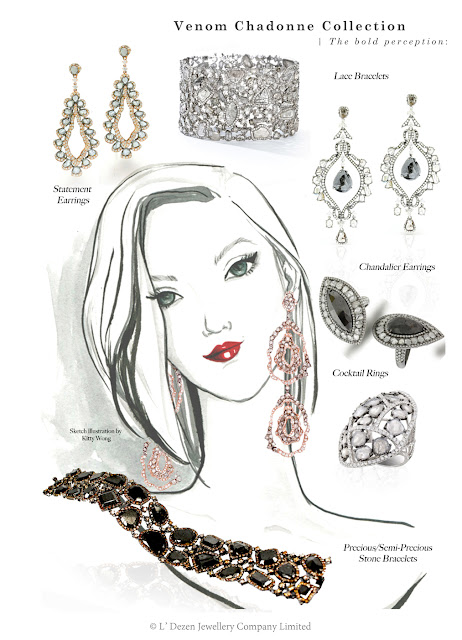 jewellry fashion illustration girl collage with sliced diamonds