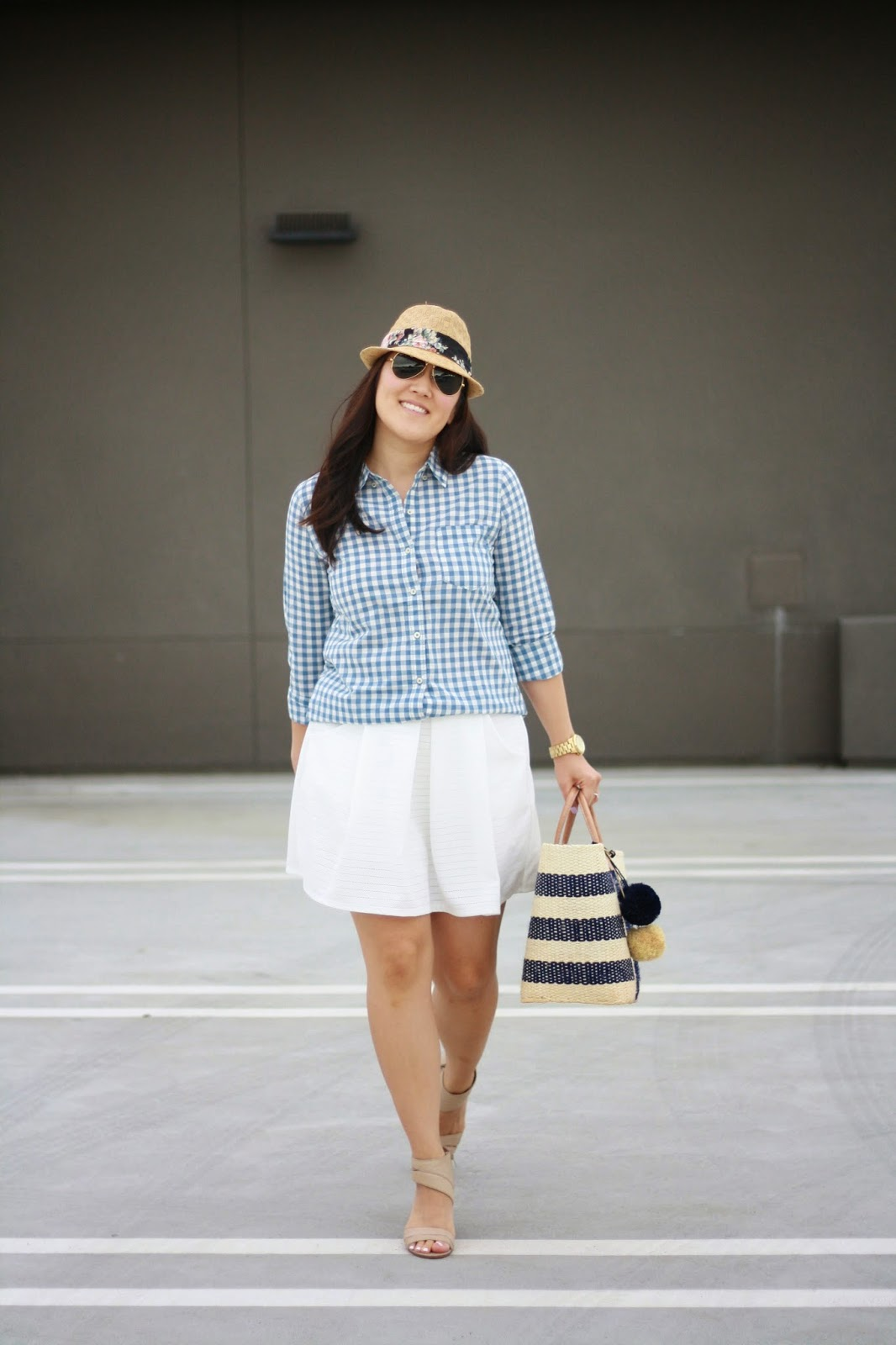 simplyxclassic, mar y sol, gingham shirt, white skirt, nine west sandals, picnic bag, beach bag