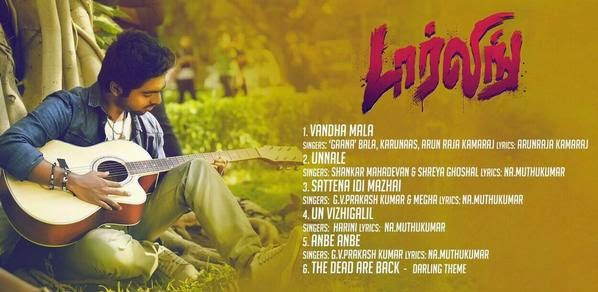 G.V.Prakash Kumar's Darling Tamil Movie Official Audio TrackList