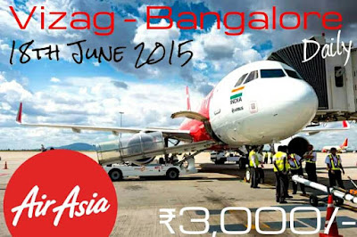 Vizag to Bangalore Direct Flights Daily from Vizag Airport from June 18, 2015