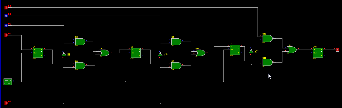 Parallel to serial converter circuit diagram with 2x1 multiplexer