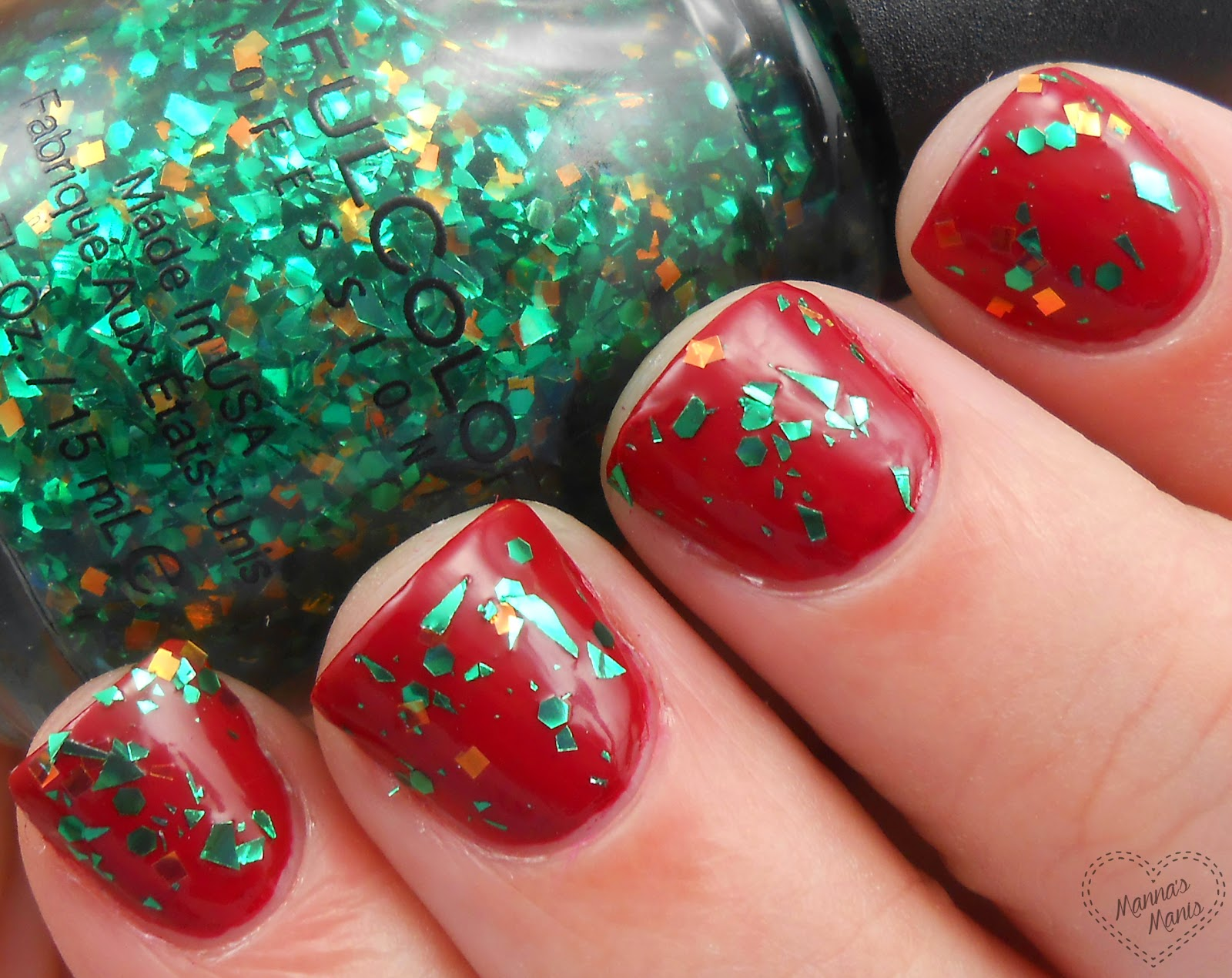 sinful colors galax-sea, a multi shaped green and gold glitter nail polish