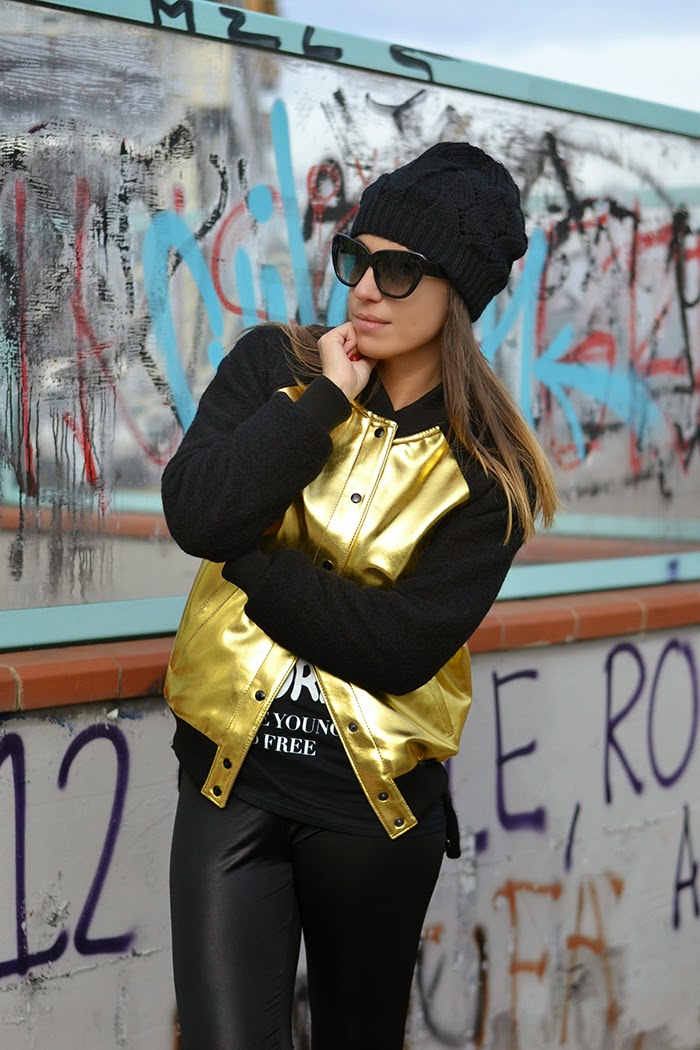 black gold bomber jacket