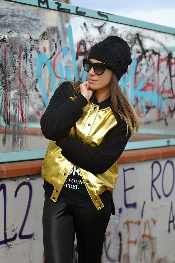 black gold bomber jacket