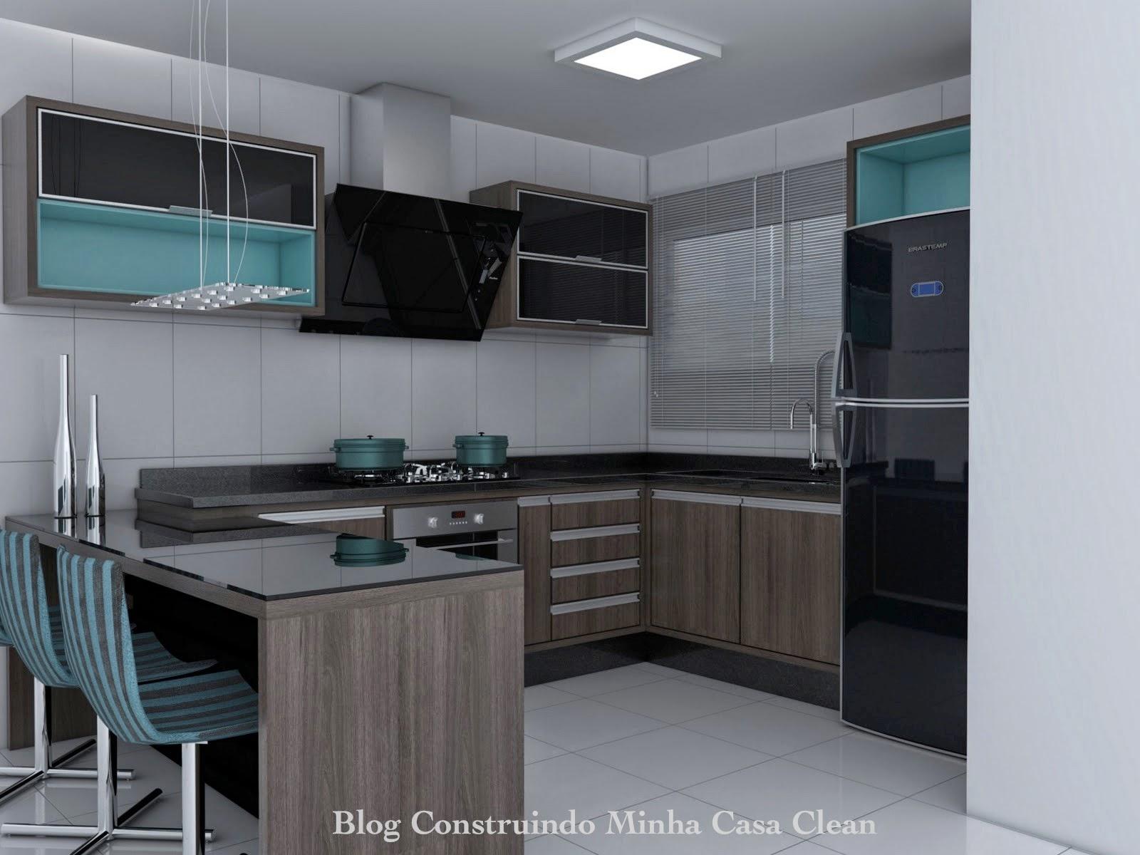 #456870 Construindo Minha Casa Clean: Cozinhas Decoradas com Azul  1600x1200 px Cadeira De Cozinha Americana Preço #1595 imagens