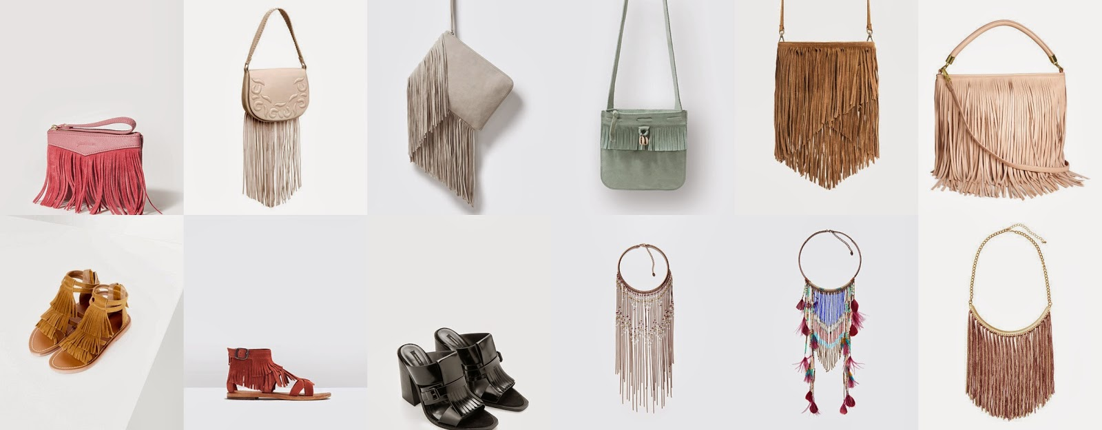 Malas, sandálias, colares com franjas - 2015 H&M, Zara, Mango, Stradivarius
