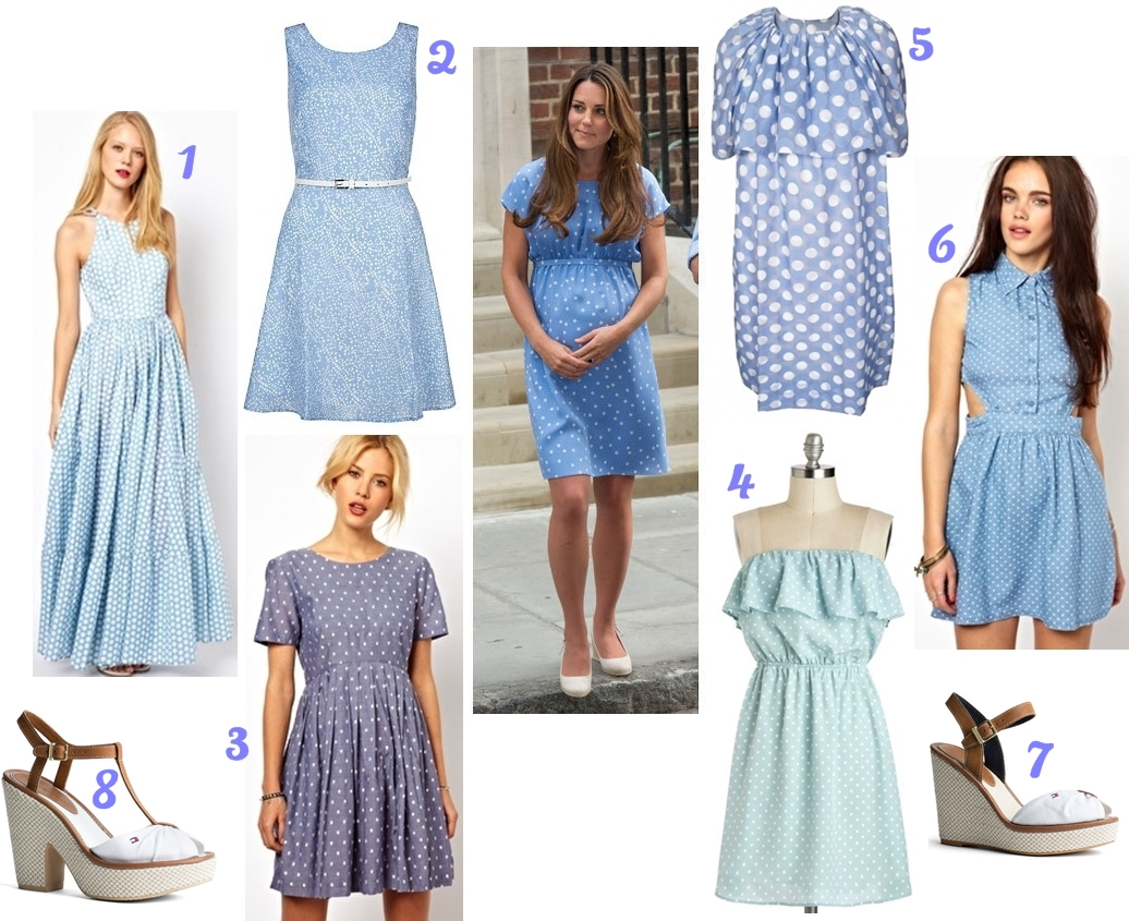 blue white dotted summer dress
