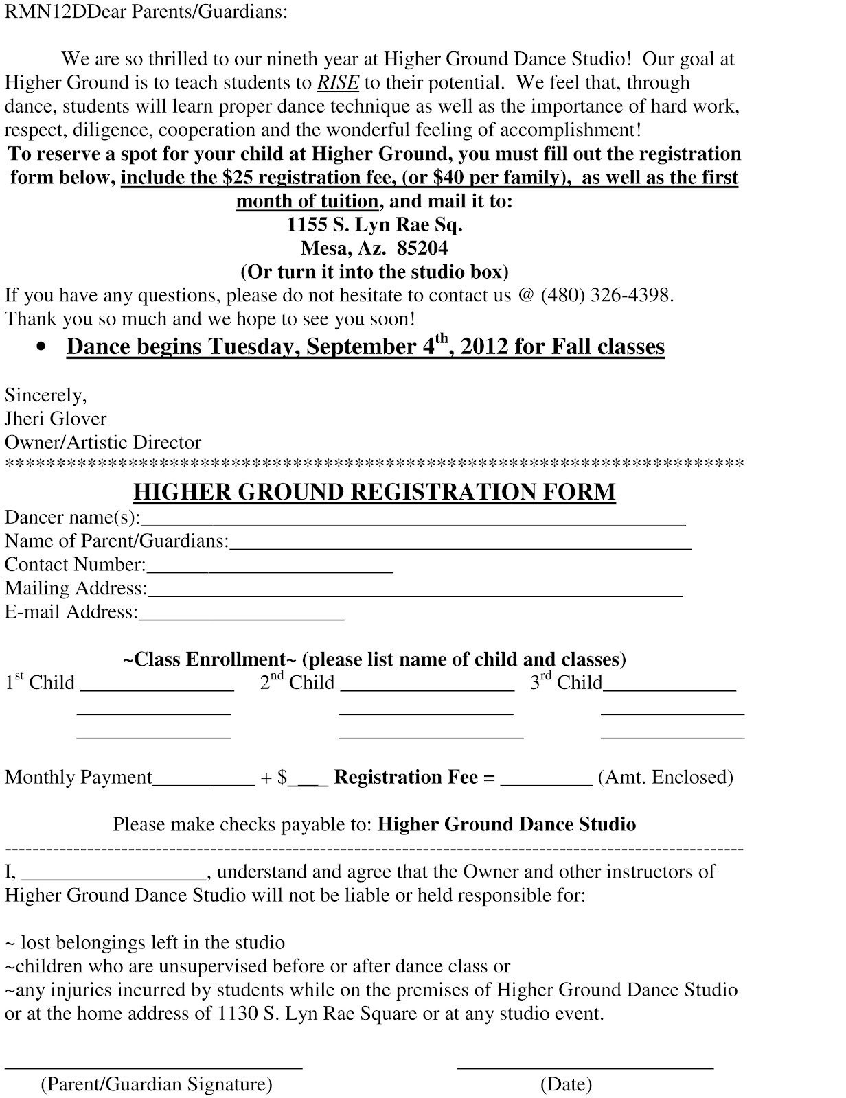 Higher Ground Dance Studio: Registration Form and Dance Policies