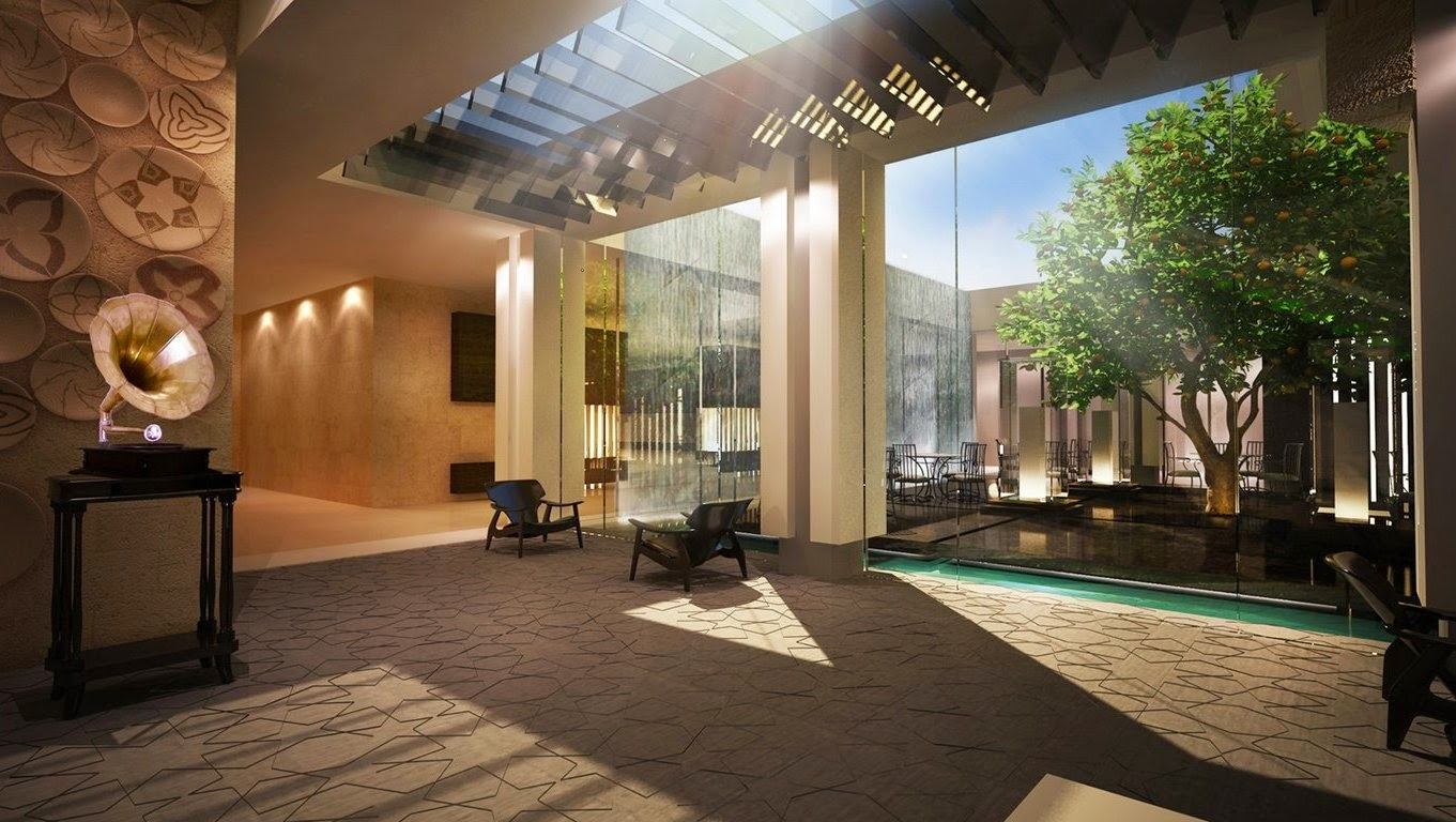 Contemporary Interior Design with Beautiful Courtyard
