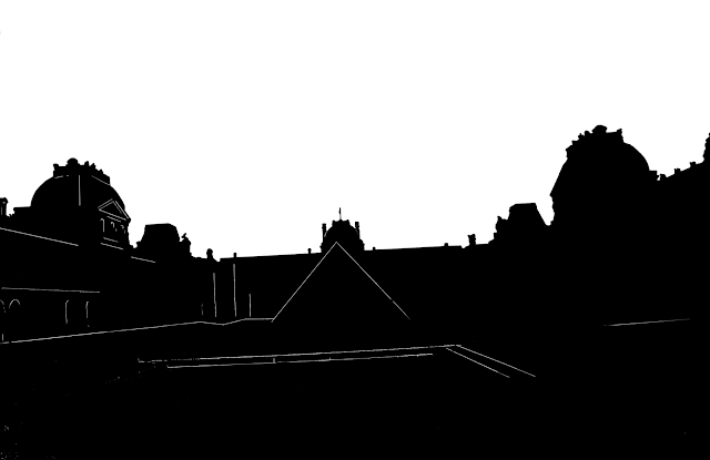 simple silhouette of the Louvre museum in Paris