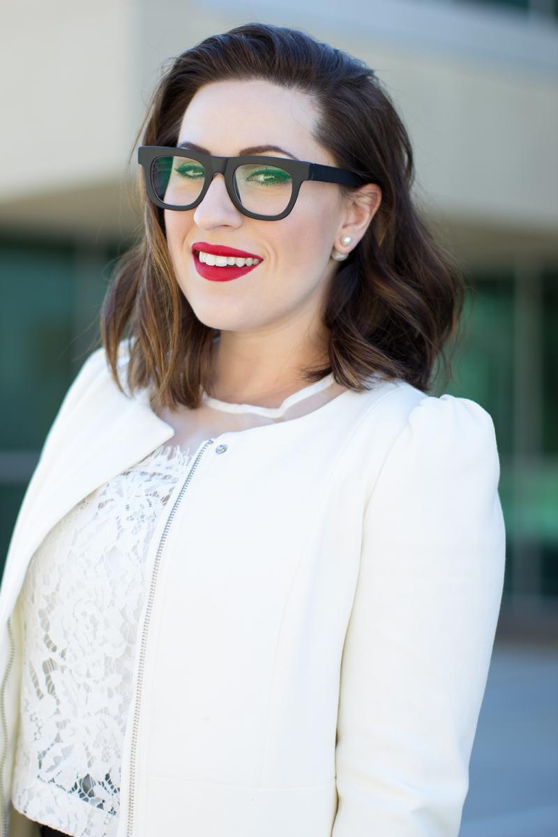 super ciccio glasses, stila beso lipstick, double pearl earrings