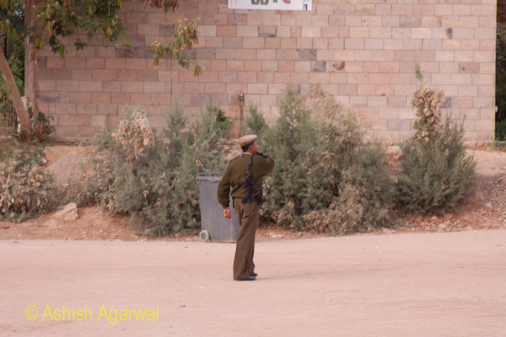 Security personnel at the Abu Simbel temple in South Egypt