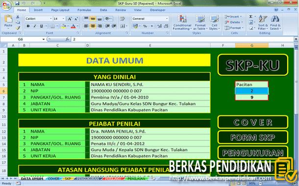 Contoh SKP Guru SD Format Microsoft Excel
