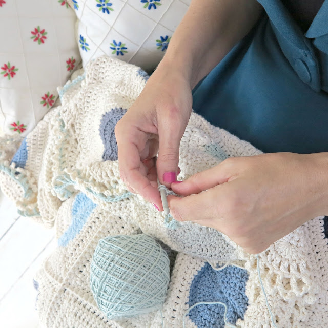 byHaafner, crochet, work in progress, blanket, circles,