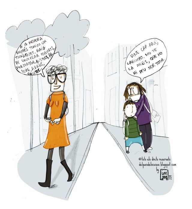 vinyeta il·lustrada per Imma mestre Cunillera sobre pensar en veu alta en la qual es veu una senyora que se'm mira espantada mentre li diu al seu fill que no ho miri.